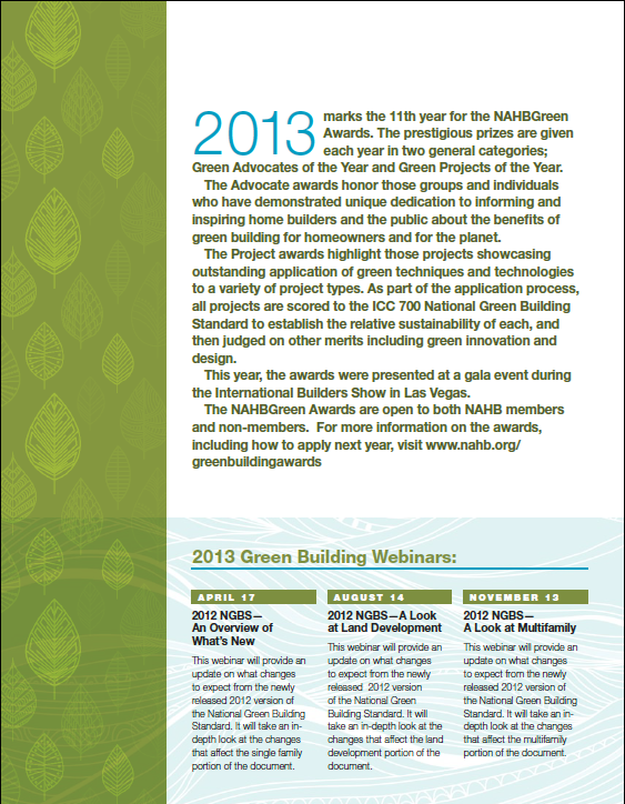 2013 National Association of Home Builders' Green Awards